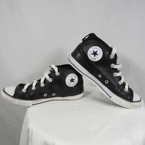 Converse Hi Top Black Leather Shoes Youth sz 4